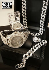 MEN HIP HOP ICED OUT CZ WATCH & RING & EARRINGS & BRACELET & NECKLACE COMBO SET