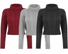 New Ladies Womens Knitted Polo Neck Chunky Knit Cable Jumper Crop Sweater Top