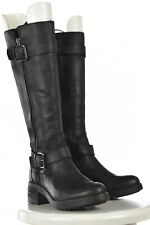 Vera Wang Womens Black Textured Mid Calf Boots Sz 6M Leather Causal Shoes