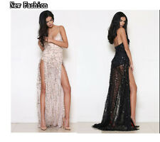 2016 Women Sequins High-Slit Prom Cocktail Club Party Bridesmaid Long Maxi Dress