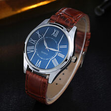 MEN'S BIG ROMAN NUMERALS WATCH ROUND DIAL FAUX LEATHER BAND WRIST WATCH FADDISH