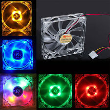 4 Pin 120mm PC Computer Clear Case Quad LED Light 9-Blade CPU Cooling Fan