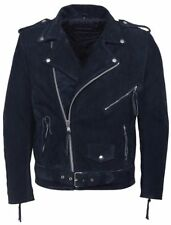 MENS Navy SUEDE Blue BRANDO Real Classic Motorcycle Biker Real Leather Jacket
