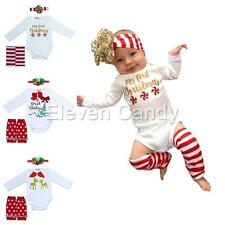 Toddler Baby Kid Girl Christmas Romper Leg Warmers Headband Outfits Xmas Clothes