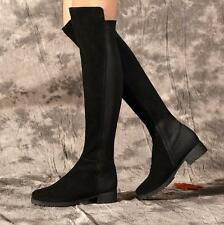 Womens Slouch Stretch Suede low Heels Over The Knee Thigh  High Boots Shoes