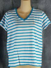 Ralph Lauren L Cotton Short Sleeve Turquoise Striped V-Neck Knit Top Shirt