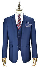 MENS CAVANI NAVY BLUE TAILORED FIT 3 PIECE WEDDING FORMAL SUIT ITALIAN TONIC