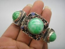 Beautiful Old tibet silver handmade inlay natural green jade bead bracelet NR