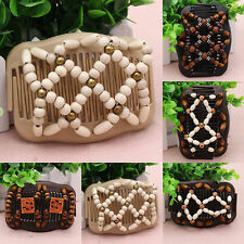 New Easy Magic Wood Bead Double Hair Comb Clip Stretchy Women Hair Accessories H