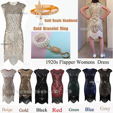 Vintage  Gatsby 1920s Flapper Dress Sequins Beads Tassels Fringed Party Costumes