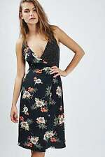TOPSHOP *Black Floral Wrap Slip Dress* NEW_UK6_8_10_12_14_16