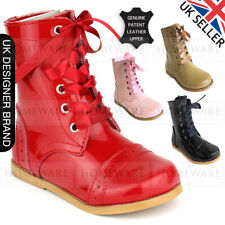 GIRLS SPANISH STYLE BOOTS REAL PATENT LEATHER SIZES UK5 UK3 PINK CAMEL RED BLACK