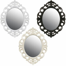 Small Ornate French Style Bedroom Hallway Oval Mirror White/Cream/Black/Grey