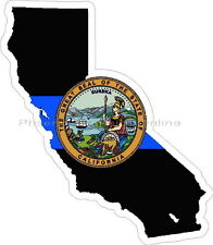 Thin Blue Line California w/ State Seal Reflective Decal Sticker Police Sheriff