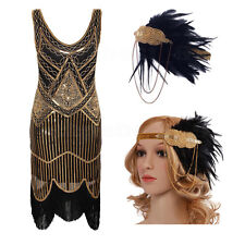 Sequin Beads Tassels 1920's Flapper Dress Great Gatsby 20s Fancy Downton Costume