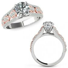 1.25 Carat Diamond Lovely Solitaire Halo Wedding Fancy Ring Band 14K Rose Gold