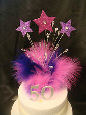 glitter  star cake topper hot pink and purple feather any age birthday