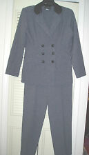 2 Pc VICTORIA ASHLEY Double-Breasted Blazer Jacket Pant Suit~Gray/Black~Size 7/8