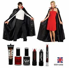 Adult VAMPIRE DRACULA Halloween Party Fancy Dress Cape COSTUME + MAKE UP SET New