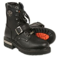 Men's Black Leather Buckled and Laced to Toe Biker Boot w Side Zipper Entry