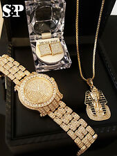 MEN HIP HOP ICED OUT LAB DIAMOND WATCH & PHARAOH NECKLACE & EARRINGS COMBO SET