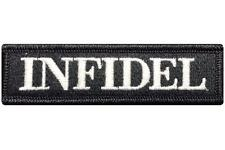 V97 Infidel Tactical Morale Patch Black & White Subdued Velcro *MADE IN USA*