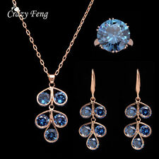 Women Gold Plated Chandelier Crystal Jewelry Sets Wedding Necklace Earring sets