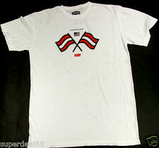 Levi's T Shirt Levis Strauss & Co Flags USA  White 100% Cotton Levis