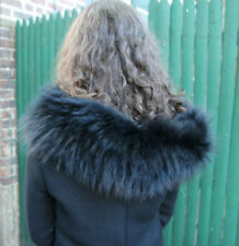 THICK Black RACCOON fur hood trim or collar for down coat by M.R.