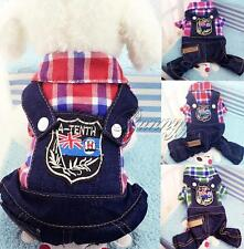 Cute Pet Dogs Puppy Jumper Denim Overall Coat Jacket Plaid Apparel Jeans Clothes