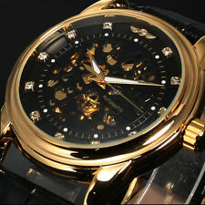 Luxury Royal Diamond Design Black Gold Mens Watches Skeleton Mechanical Watch NR