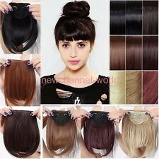 US Clip In Bangs Fringe Fake Hair Extensions Real Thick Straight Front Hair Bang