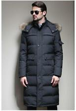 Fur Hooded Coat Down Mens Long Parka Down Coat Winter Snow Warm Outwear Jacket
