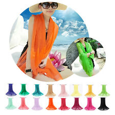 Fashion Women Candy Colors Silk Shawl Scarves Long Wraps Beach Soft Scarf Stole