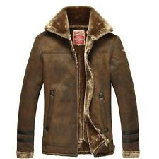 new Chic mens winter coat warm leather lapel thick wool Outwear Fur jacket parka