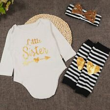Newborn Infant Kids Baby Girl Clothes Romper+Headband+Leg Warmer 3PCS Outfit Set