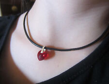 Black Leather Necklace with 925Silver made with Swarovski Elements Crystal Heart