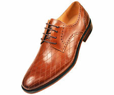 Asher Green Mens Tan Quilted Leather Oxford Dress Shoe w/ Plain Toe : AG369-028