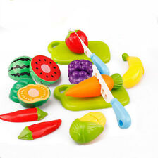 Nice Kids Role Play Kitchen Wooden Fruit Vegetable Food Cutting Toy Set