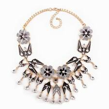 new enamel flower pendant gold plated chain crystal statement necklace for women