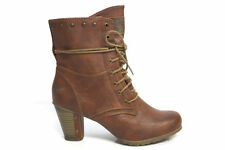 Mustang Women Ladies Brown Vintage Style Heeled Military Ankle Boots Size UK 3-8