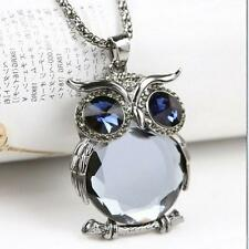 18K white Gold GP Swarovski Crystal Owl sweater chain pendant necklace N399