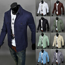 Mens Slim Fit Military Style Jacket Stand Collar Coat Button-Front Overcoat tops