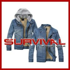 New Mens Designer Blue Outer Wear Lined Denim Jacket with Detachable Hood Size S
