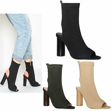 Womens Ladies Peep Toe Cylinder High Heel Knitted Stretch Ankle Boots Shoes