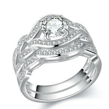 Round CZ 925 Sterling Silver White Gold Plated Wedding Ring Set Women's Size 6-9