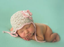 Hand Crochet Knitted Baby Earflap Hat Flower Photo Prop Girl Grey Newborn-24M