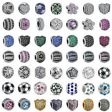 European 925 Sterling Crystal Silver Pave Charms Cubic Zircon Bead for Bracelet
