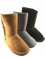 BearPaw Emma Short Flat Suede Sheep Skin/Wool Lining Ankle Boots Choose Sz/Color