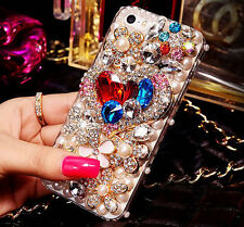 For Mobile Phone Luxury Pearls Crystals Rhinestones Bling Cute Floral Heart Case